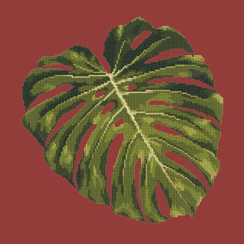 Monstera Leaf Needlepoint Kit Elizabeth Bradley Design Dark Red