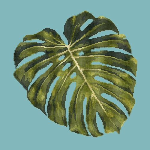 Monstera Leaf Needlepoint Kit Elizabeth Bradley Design Duck Egg Blue