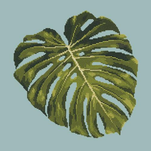 Monstera Leaf Needlepoint Kit Elizabeth Bradley Design Pale Blue