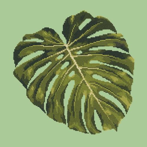 Monstera Leaf Needlepoint Kit Elizabeth Bradley Design Pale Green
