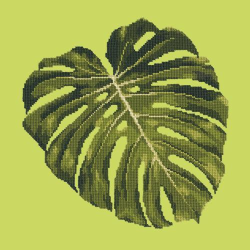 Monstera Leaf Needlepoint Kit Elizabeth Bradley Design Pale Lime