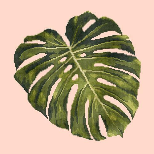 Monstera Leaf Needlepoint Kit Elizabeth Bradley Design Salmon Pink