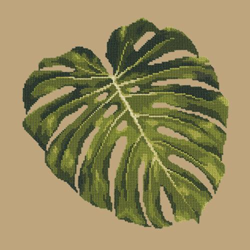 Monstera Leaf Needlepoint Kit Elizabeth Bradley Design Sand