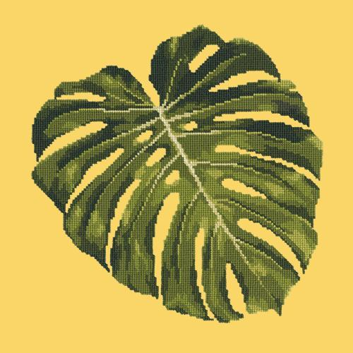 Monstera Leaf Needlepoint Kit Elizabeth Bradley Design Sunflower Yellow