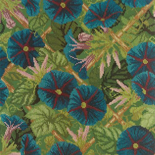 Morning Glory Trellis Needlepoint Kit Elizabeth Bradley Design Dark Green