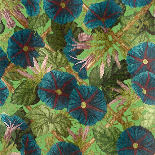 Morning Glory Trellis Needlepoint Kit Elizabeth Bradley Design Grass Green