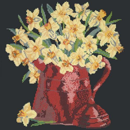 Narcissi Pot Needlepoint Kit Elizabeth Bradley Design Black