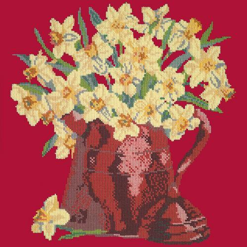 Narcissi Pot Needlepoint Kit Elizabeth Bradley Design Bright Red