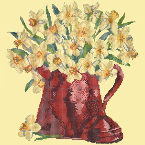 Narcissi Pot Needlepoint Kit Elizabeth Bradley Design Butter Yellow