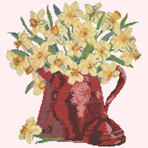 Narcissi Pot Needlepoint Kit Elizabeth Bradley Design Cream