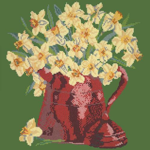 Narcissi Pot Needlepoint Kit Elizabeth Bradley Design Dark Green