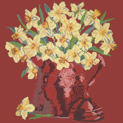 Narcissi Pot Needlepoint Kit Elizabeth Bradley Design Dark Red