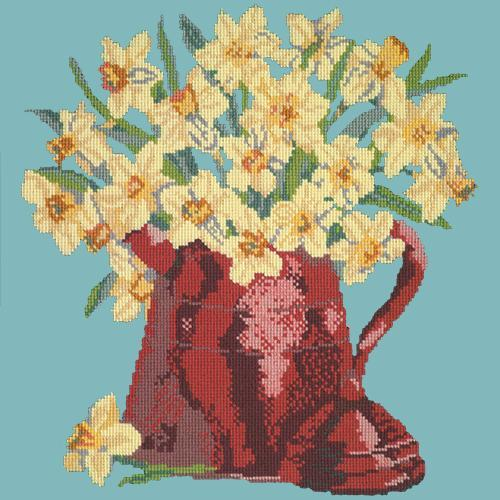 Narcissi Pot Needlepoint Kit Elizabeth Bradley Design Duck Egg Blue