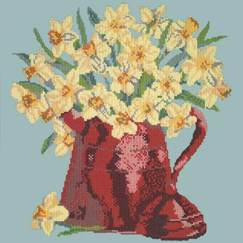 Narcissi Pot Needlepoint Kit Elizabeth Bradley Design Pale Blue