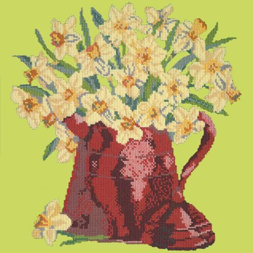 Narcissi Pot Needlepoint Kit Elizabeth Bradley Design Pale Lime