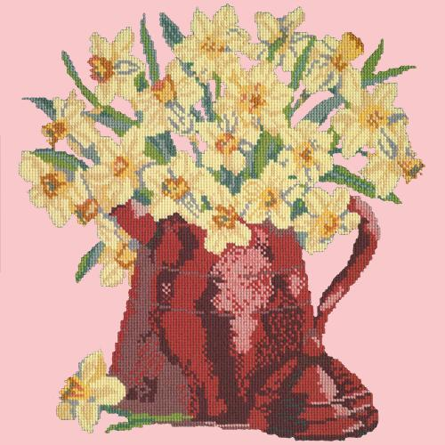 Narcissi Pot Needlepoint Kit Elizabeth Bradley Design Pale Rose