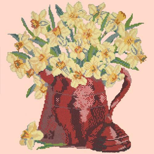 Narcissi Pot Needlepoint Kit Elizabeth Bradley Design Salmon Pink
