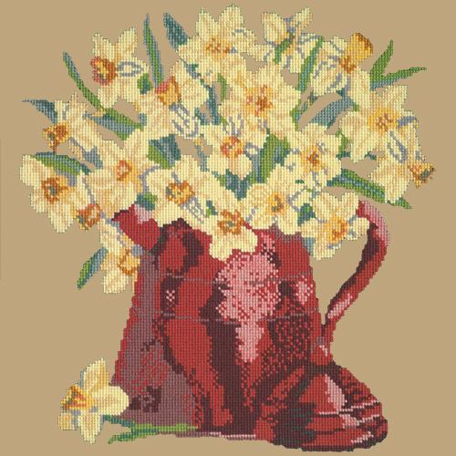 Narcissi Pot Needlepoint Kit Elizabeth Bradley Design Sand