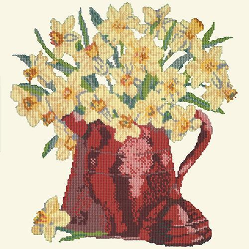 Narcissi Pot Needlepoint Kit Elizabeth Bradley Design Winter White