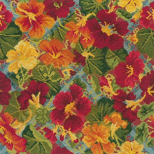Nasturtium Trellis Needlepoint Kit Elizabeth Bradley Design Dark Red