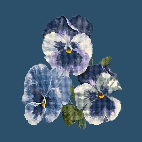 Pansies Needlepoint Kit Elizabeth Bradley Design Dark Blue