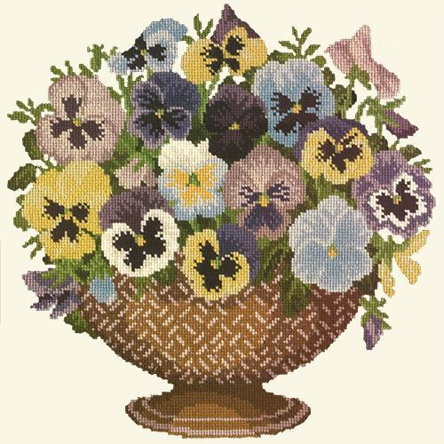 Pansy Bowl Needlepoint Kit Elizabeth Bradley Design Winter White