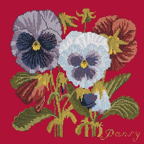 Pansy Needlepoint Kit Elizabeth Bradley Design Bright Red