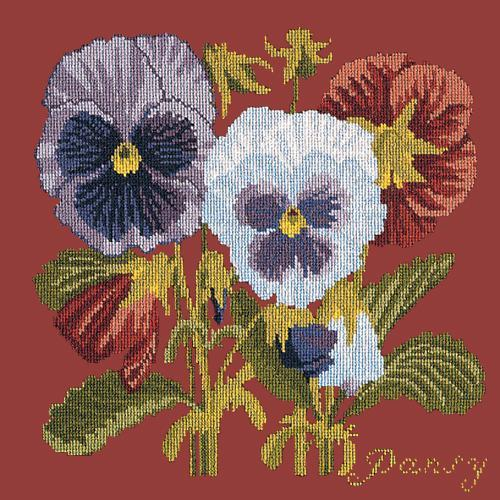 Pansy Needlepoint Kit Elizabeth Bradley Design Dark Red