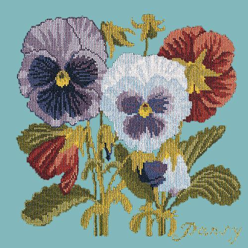 Pansy Needlepoint Kit Elizabeth Bradley Design Duck Egg Blue