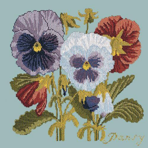 Pansy Needlepoint Kit Elizabeth Bradley Design Pale Blue