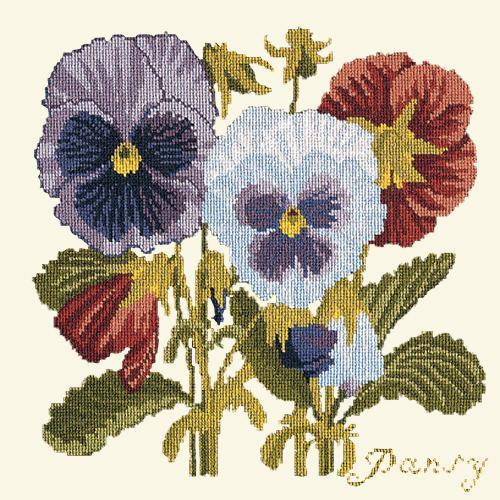 Pansy Needlepoint Kit Elizabeth Bradley Design Winter White
