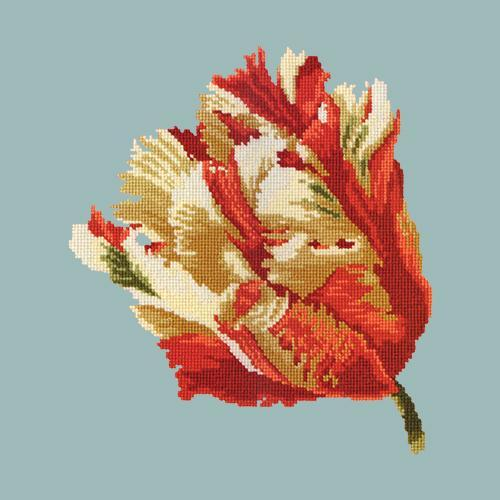 Parrot Tulip Needlepoint Kit Elizabeth Bradley Design Pale Blue