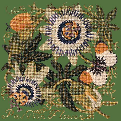 Passion Flower Needlepoint Kit Elizabeth Bradley Design Dark Green