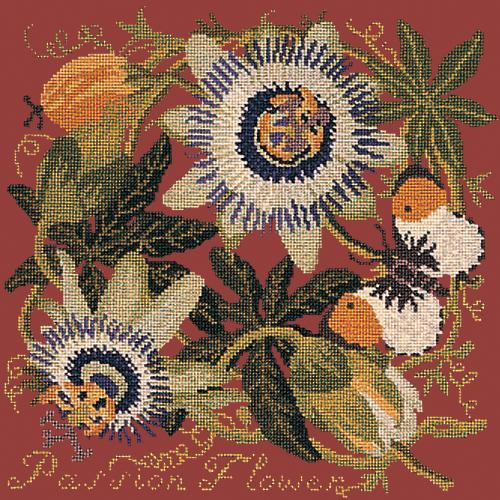 Passion Flower Needlepoint Kit Elizabeth Bradley Design Dark Red