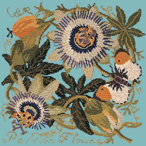 Passion Flower Needlepoint Kit Elizabeth Bradley Design Duck Egg Blue