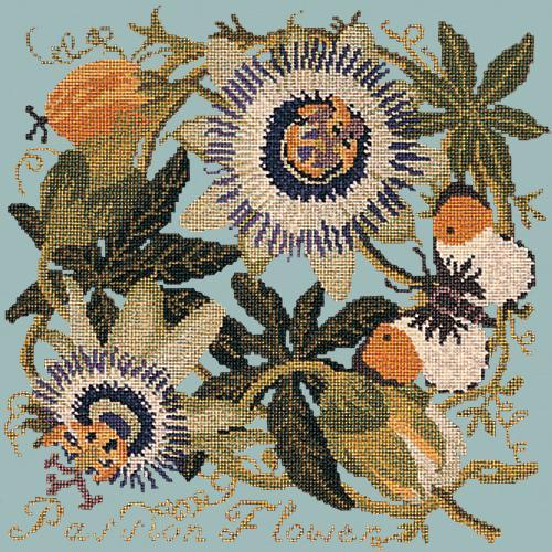 Passion Flower Needlepoint Kit Elizabeth Bradley Design Pale Blue
