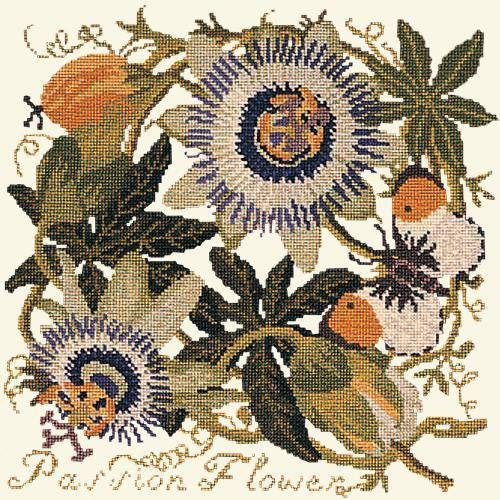Passion Flower Needlepoint Kit Elizabeth Bradley Design Winter White