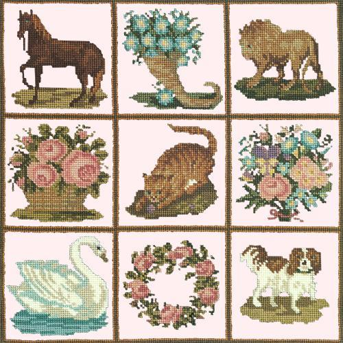 Patchwork Pieces Needlepoint Kit Elizabeth Bradley Design Cream