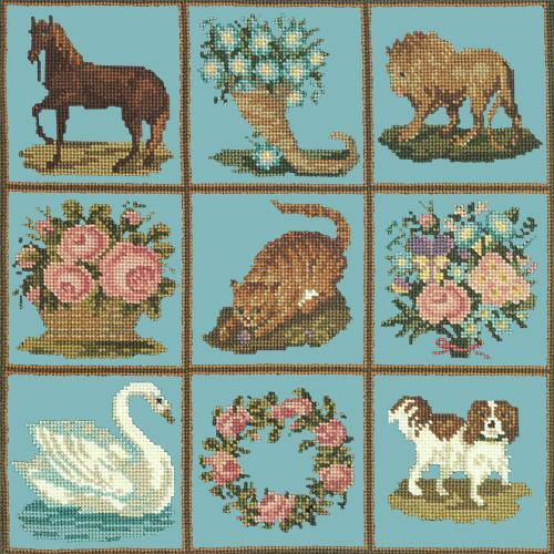 Patchwork Pieces Needlepoint Kit Elizabeth Bradley Design Duck Egg Blue