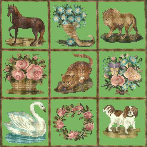 Patchwork Pieces Needlepoint Kit Elizabeth Bradley Design Grass Green