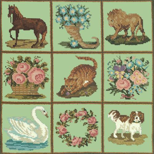 Patchwork Pieces Needlepoint Kit Elizabeth Bradley Design Pale Green