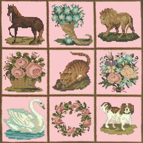 Patchwork Pieces Needlepoint Kit Elizabeth Bradley Design Pale Rose