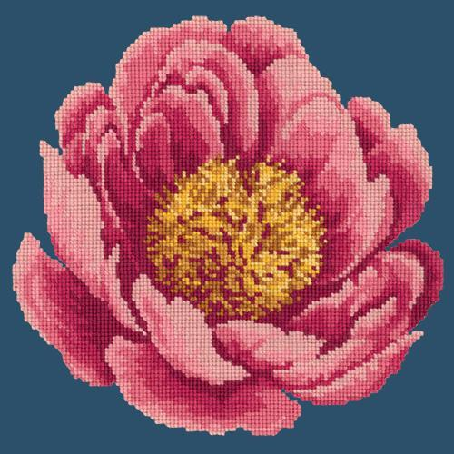 Peony Needlepoint Kit Elizabeth Bradley Design Dark Blue
