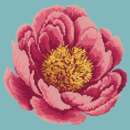 Peony Needlepoint Kit Elizabeth Bradley Design Duck Egg Blue