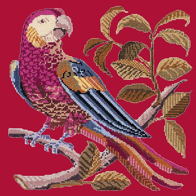 Pete the Parrot Needlepoint Kit Elizabeth Bradley Design Bright Red