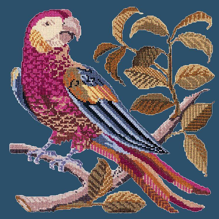 Pete the Parrot Needlepoint Kit Elizabeth Bradley Design Dark Blue