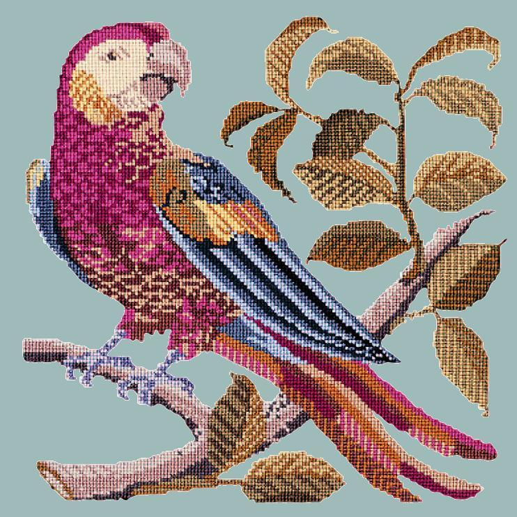 Pete the Parrot Needlepoint Kit Elizabeth Bradley Design Pale Blue