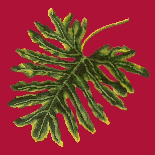 Philodendron Leaf Needlepoint Kit Elizabeth Bradley Design Bright Red