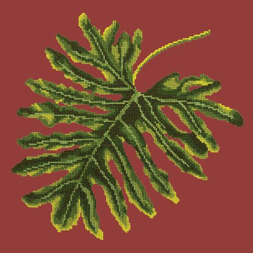Philodendron Leaf Needlepoint Kit Elizabeth Bradley Design Dark Red