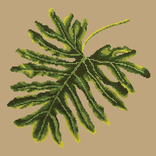 Philodendron Leaf Needlepoint Kit Elizabeth Bradley Design Sand